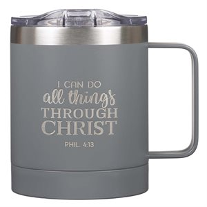 Tasse de Café en Acier Inoxydable / I Can Do All Things Gray Camp Style Stainless Steel Mug - Philippians 3:14
