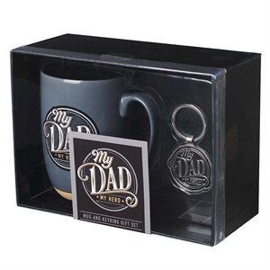 Kit Cadeau Tasse et Porte-Clé / My Dad, My Hero Ceramic Mug and Keyring Gift Set for Men