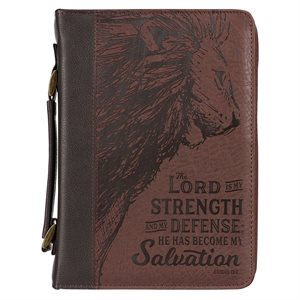 Couverture pour Bible LARGE / The LORD is My Strength Brown Faux Leather Classic Bible Cover - Exodus 15:2 , LARGE