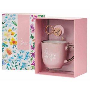 Kit Cadeau pour Femme - Porte-Clé, Tasse et Journal / Boxed Gift Set-Journal, Mug & Keyring-Be Grateful