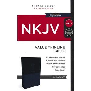 NKJV Value Thinline Bible, Imitation Leather, Blue