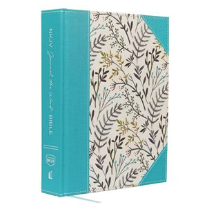 NKJV Journal the Word Bible, Large Print, Hardcover, Blue Floral Cloth, Red Letter Edition