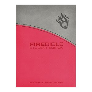 Fire Bible : New International Version Gray / Pink Flexisoft Leather (Student Edition)