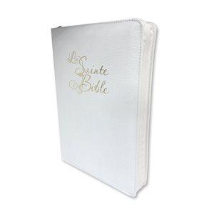 Bible Louis Segond 1910 Mariage blanche, Gros caractères format compact, avec onglets et fermeture éclair